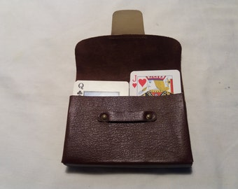 Vintage Dark Brown Leather Case for Playing Cards - NEW