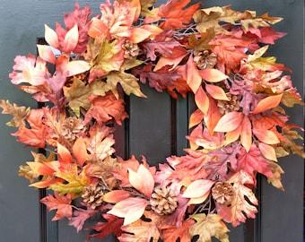 Burgundy Leaf FALL Wreath, Fall Decor Outdoor Wreath, Fall Monogram Wreath with Pinecones, Autumn Fall Decor, Fall Colors, Gold Monogram