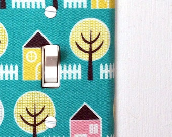 Light Switch Plate Cover - blue with yellow and pink houses and trees - retro, mod, midcentury, modern