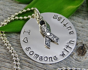 Hand Stamped Jewelry - Autism Awareness - I love Someone With Autism - Sterling Silver Necklace - Personalized Jewelry