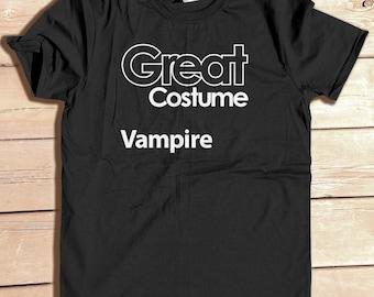 Great Costume Vampire Funny Generic Halloween Party Costume Tshirt Funny Graphic Tee Typography Geek Humor Nerd Joke