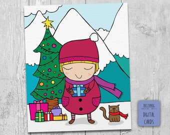 Christmas Art Print for create postcards, greeting cards, squares, Packaging, gift boxes.  Dimensions 23 cm x 19 cm.