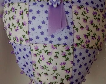 Lilac Patchwork Padded Homemade Fabric Hanging Heart