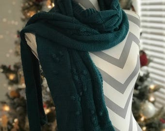 Handmade Knit Turquoise Scarf Long Mens Soft Gift Ready To Ship