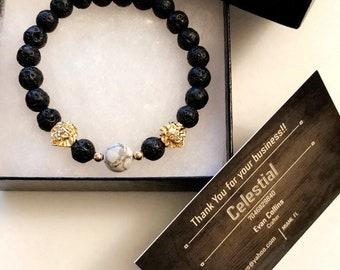 Handmade lava rock bead bracelet with gold lion head!