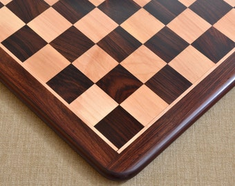 """Wooden chess board in Rose / Box Wood from India 17"""" - 45 mm squares. SKU: S1206"""