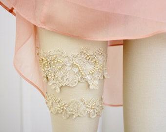 Light Gold Pearl Beaded Lace Wedding Garter Set , Champagne Lace Garter Set,Bridal Wedding Garter Belt / GT-44