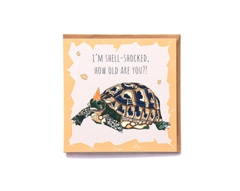 I'm shell-shocked, how old are you?! - Quirky Tortoise Birthday Card Hand drawn