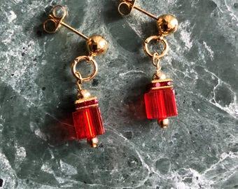Sparkling Cube Earrings