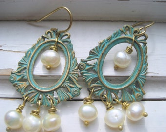 Sea Goddess dangle earrings. Aqua patina brass, white freshwater pearls, brass ear wires