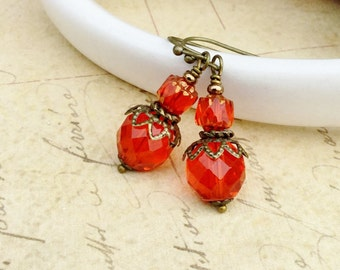 Red Earrings, Orange Earrings, Victorian Earrings, Czech Glass Beads, Vintage Style Earrings, Vintage Look Jewelry, Unique Earrings, Gifts