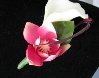 grooms boutonniere, wedding boutonnieres, bridal corsage, calla boutonniere, wedding flowers, silk boutonniere, prom boutonniere,