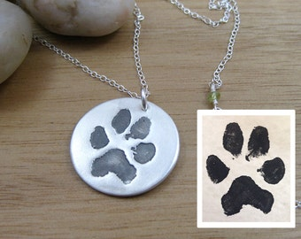 Custom Paw Print Necklace Pet Remembrance Jewelry Paw Print Jewelry Pet Lover Keepsake Necklace Dog Jewelry Cat Jewelry Pet Jewelry