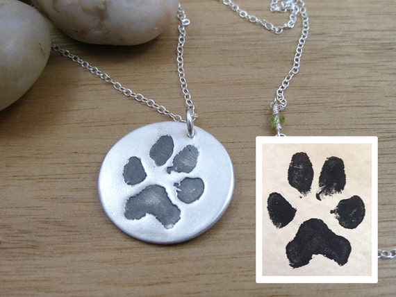 Custom paw print necklace pet remembrance jewelry paw print aloadofball