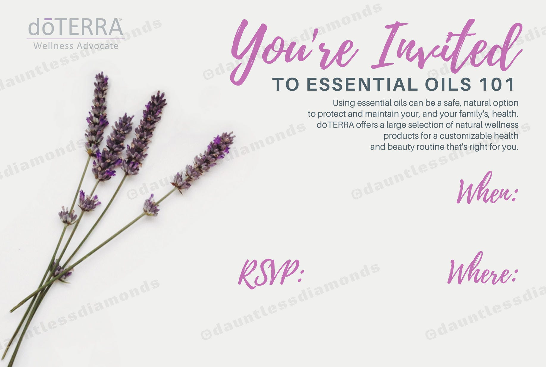 doTERRA Class Invitation Lavender II from DauntlessDiamonds on
