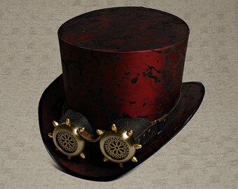 Top Hat with Goggles Marsala Top Hat with Goggles Mad Hatter Hat Mens Hats Womens Hats Steam Punk Top Hat Personalized Hat Cosplay TopHat