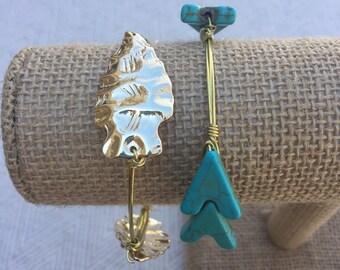 Turquoise Arrow Wire-Wrapped Bangle Bracelet