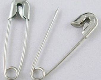 set of 30 safety metal safety pins silver 19 x 5 mm new