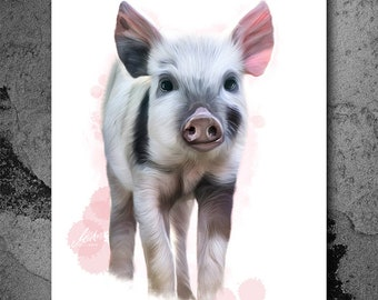 Pig, Piglet, Baby, Sweet, Nursery, Animal Art, Hand Drawn Artwork, PRINTABLE ART, Poster, Instant Download, Digital Print, Illustration