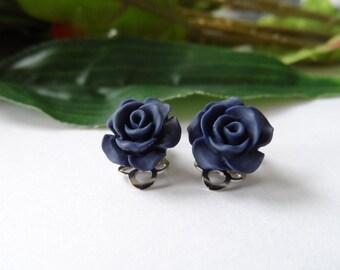 Navy Rose Flower Clip on Earrings, Girls Earrings, Girls Clip on earrings, flower Earrings,Girls Birthday Gift, girls clip on earrings