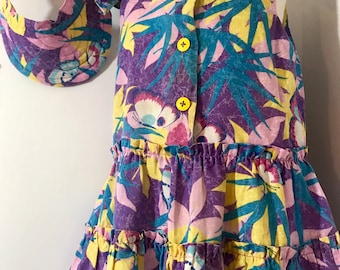 Vintage 1980 Handmade  Tropical Hawaiian Sundress with bloomers