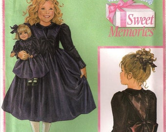"""Simplicity 4903 Daisy Kingdom Girls Party Dress & Doll Clothes For 18"""" American Girl Sewing Pattern UNCUT Size 3, 4, 5, 6"""