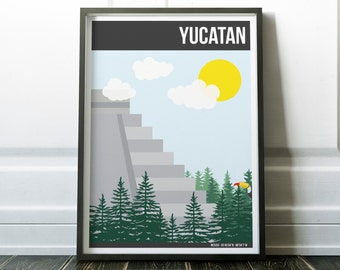 Chichen Itza Print, Yucatan Mexico Poster, Maya Print, Mayan Poster, Yucatan Landmark Print, Toucan Print