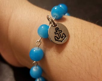 Anchor dangle charm bracelet blue beaded bracelet 8 inches with clasp