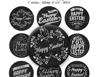 Happy Easter Chalkboard Bottle Cap Images 1 Inch Circles Digital JPG - Instant Download - BC1161