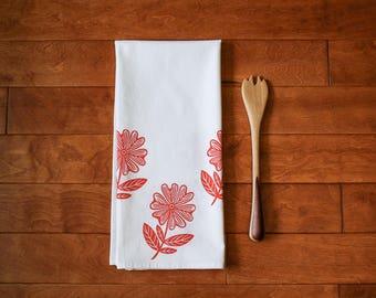Flower Kitchen Towel, block print, red,  flour sack towel (Made to Order)