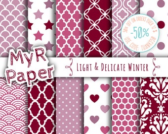 "Digital Paper: ""Light & Delicate Winter"" Patterns Pack and Backgrounds with Damask, Polka Dots, Stars, Hearts in Lilac, Plum, Gray and White"