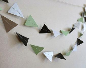 Mint, Black, and Metallic Silver Shimmer Arrow Tribal Geometric Paper Garland | Geometric Party Decor