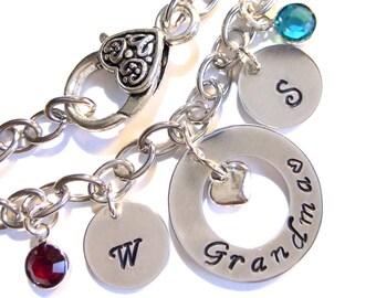 Personalized Grandma Bracelet,Mother Bracelet,Grandma Jewelry,Grandma Gift,Nana Bracelet,Gift for Grandma,Initial Bracelet,Mother Jewelry