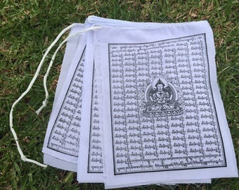 Buddha of Compassion Tibetan Prayer Flags From Nepal - Solid White Color (Set of 10 Flags)