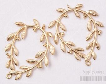 P376-MG// Matt Gold Plated Laurel Wreath Connector, 2pcs