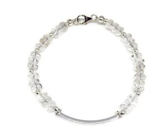 Clear Quartz bracelet, Sterling Silver bracelet, bar bracelet, delicate bracelet, stacking bracelet, April birthstone, Quartz jewellery