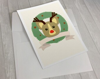 Reindeer Corgi Christmas Card