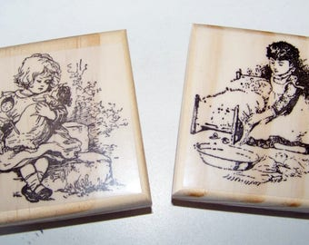 Lot of 2 Vintage Girls New Mounted Rubber Stamps Little Mama Tucking Baby in