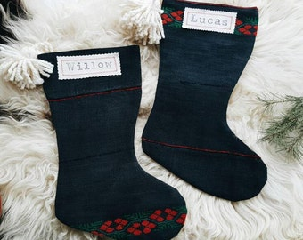 Vintage Cross Stitched Hmong Christmas Stockings - Scandinavian Nordic Christmas Décor - Modern Farmhouse Stocking