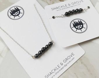 Hematite Dainty Necklace and Bracelet // Beaded Bar Necklace // Bar Bracelet