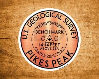 "Pikes Peak Colorado Benchmark Sticker Mountains 3"" Stickers Indoor Outdoor"