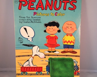 1950's Charles Schulz Charlie Brown Snoopy PEANUTS  Pictures to Color Coloring Book