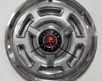 1965 - 1966 Ford Falcon Spinner Hubcap Clock - Industrial Wall Decor