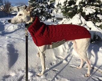 Greyhound Sweater, Greyhound Coat, greyhound jersey, Pet Clothing, Dog Sweater, Large Dog Sweater, Large Dog Clothes, Knitted Dog Sweater