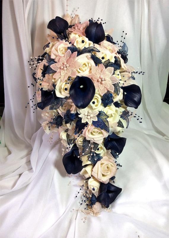 Navy Gold Blush Wedding Bridal Flower Bouquet Brides Flowers