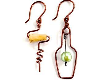 Wine Bottle and Cork Screw Earrings with Grape. White Wine Lovers Earrings. Green Grape Wine Bottle Copper Earrings