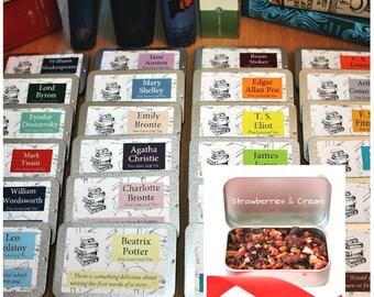 Literary Teas Novelette Gift  - Authors Gift - Pocket Gift - Tea Gift - Bookish Gift - Literary Gift - Mini Tins