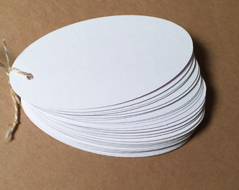 Die Cut, Hang Tags, White Blank Tags, Oval Tag, Gift Tag, Retail Tag, 110 lb Card Stock CP-1004