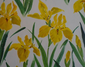 Vintage Gift Wrap 1970s All Occasion Hallmark  Wrapping Paper-Yellow Iris 1 Sheet