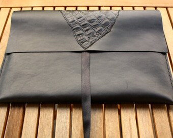"""Leather MacBook Air 13 inch Case / Leather MacBook Air Sleeve / MacBook Air Leather Sleeve / 13"""" MacBook cover / Black Leather / Perfect fit"""